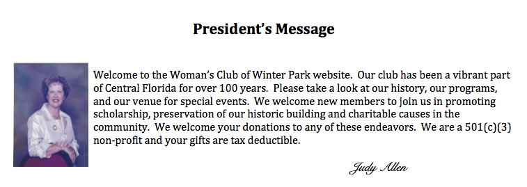 Judy Allen President's Message